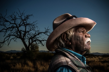 "Portrait of Amata traditional owner Stanley Douglas at Cave Hill, Amata. The National Museum of Australia will soon open the exhibition ""Songlines' showcasing the stories of the Aboriginal community in Amata from the Anangu Pitjantjatjara Yankunytjatjara Lands in South Australia. Photo: Wolter Peeters/ Fairfaxmedia"