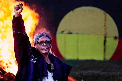 Aunty Jenny Munro celebrates the Redfern Aboriginal Tent Embassy win after 15 months of struggle.© Glenn Lockitch 2016